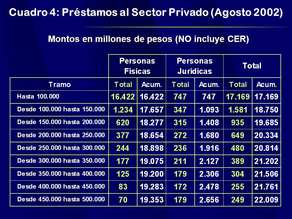 Cuadro 4: Préstamos al Sector Privado (Agosto 2002) Montos en millones de pesos (NO incluye CER)