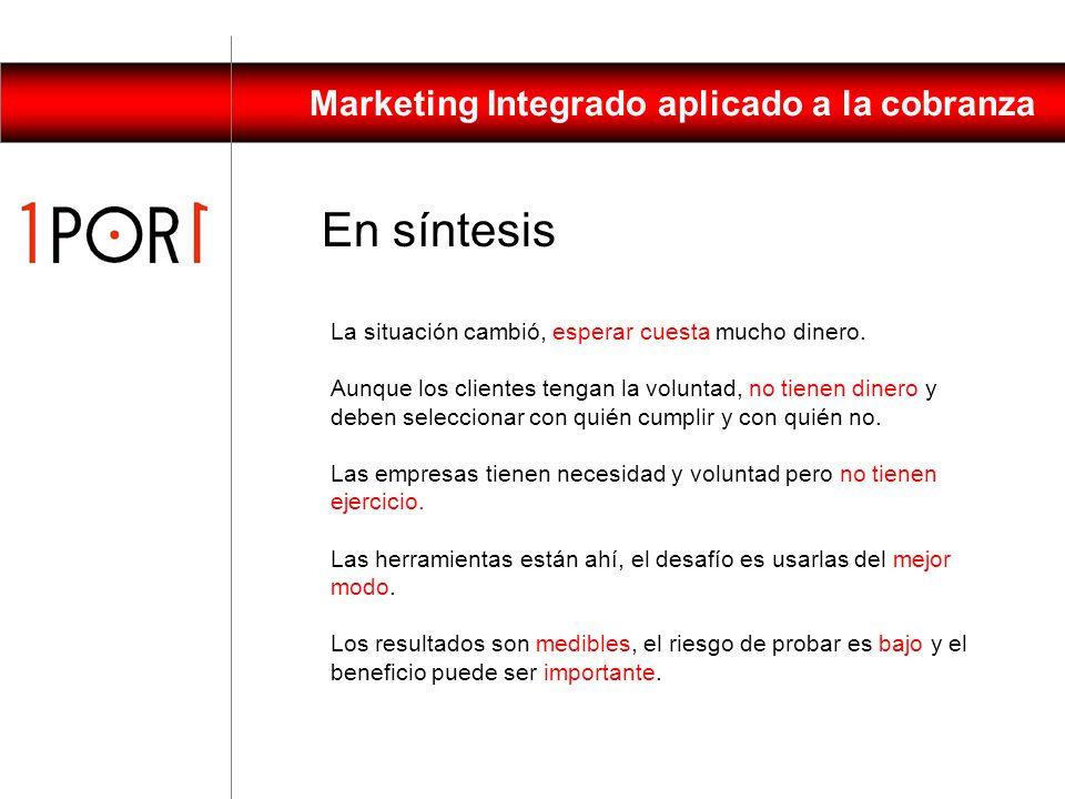 Marketing Integrado aplicado a la cobranza Estudiar al cliente: Investigación mercado Análisis base de datos Definir modelos Un trabajo dinámico Ejecu