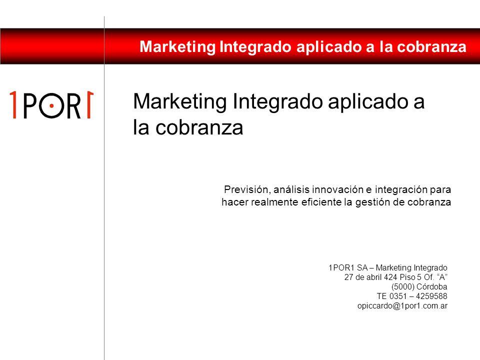 Marketing Integrado aplicado a la cobranza Pensemos estratégicamente Investiguemos a nuestros clientes Analicemos su comportamiento histórico Definamo