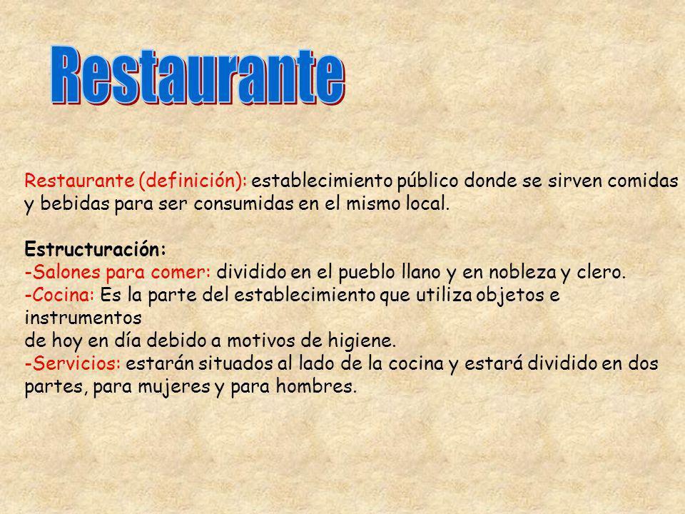 Restaurante (definición): establecimiento público donde se sirven comidas y bebidas para ser consumidas en el mismo local. Estructuración: -Salones pa