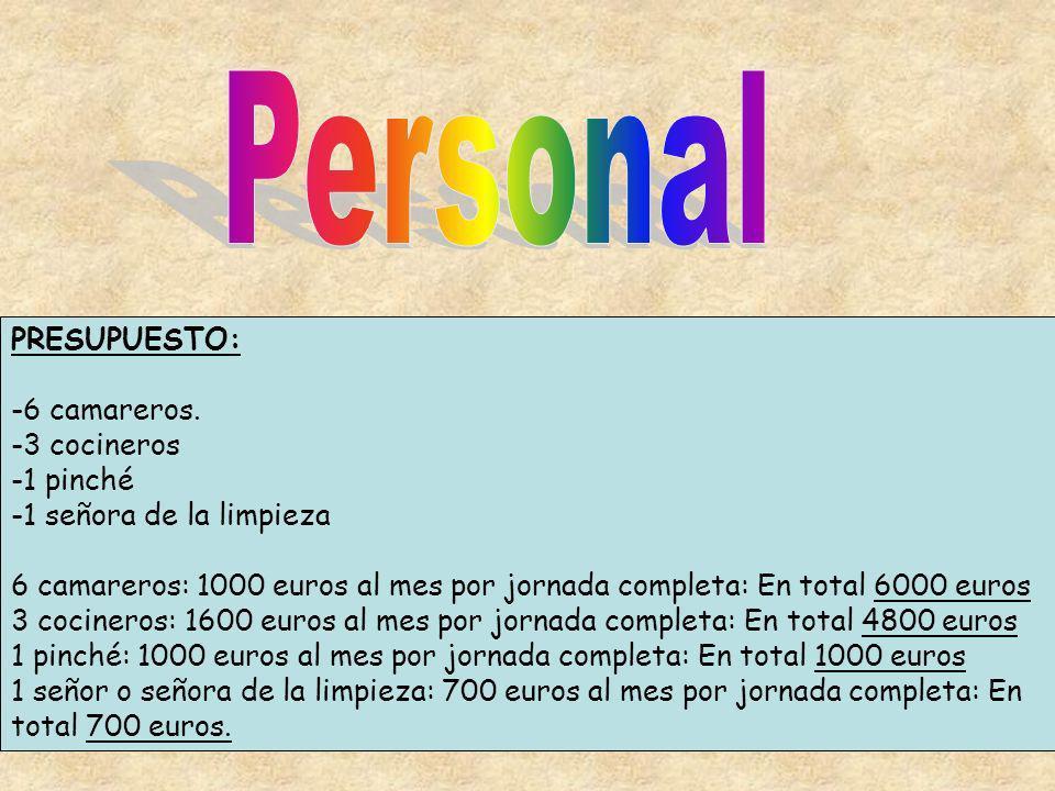 PRESUPUESTO: -6 camareros. -3 cocineros -1 pinché -1 señora de la limpieza 6 camareros: 1000 euros al mes por jornada completa: En total 6000 euros 3