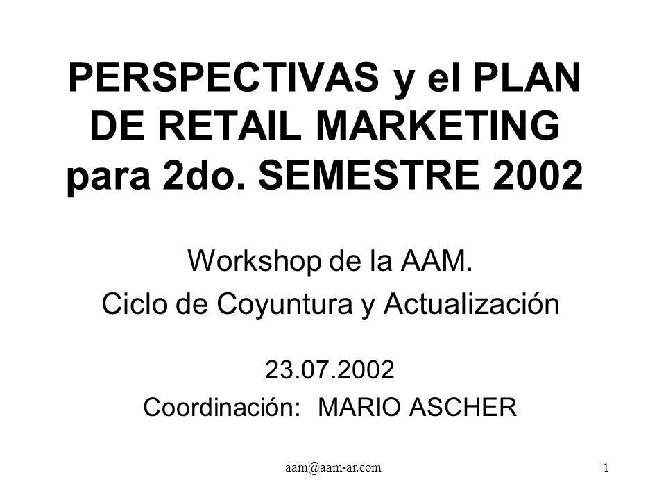 aam@aam-ar.com2 COYUNTURA Panel de retailers Franco Garone (Boating) Pablo Gaspar (Piacere) Fernando Paternó (Bonafide) Pedro Russo (Mimo) Encuesta del CEREM Centro de Estudios en Retail Marketing de la U.