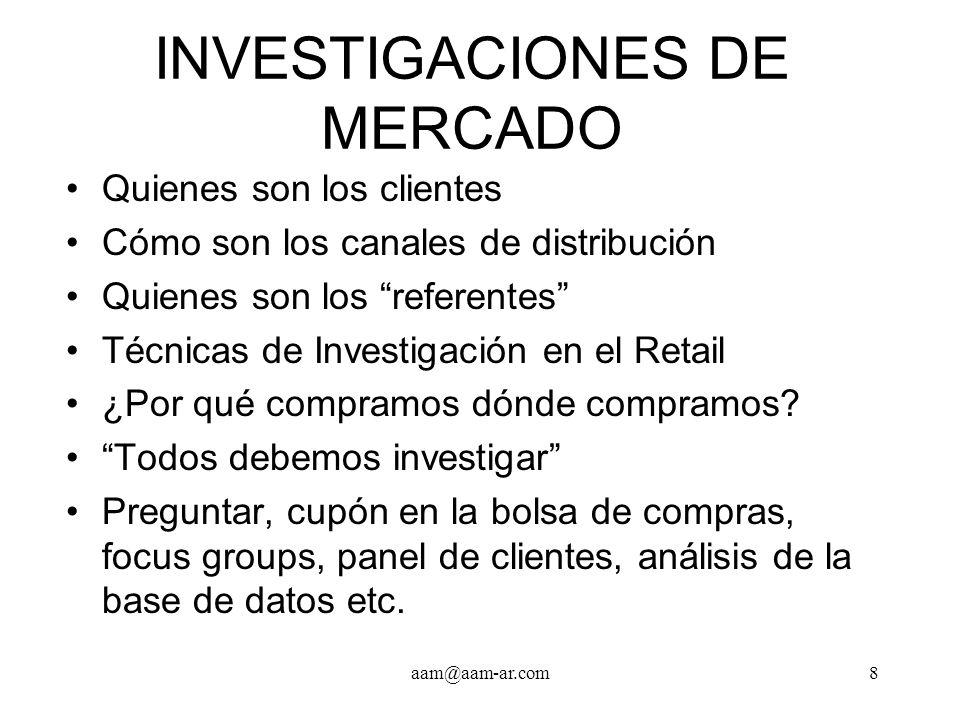 aam@aam-ar.com8 INVESTIGACIONES DE MERCADO Quienes son los clientes Cómo son los canales de distribución Quienes son los referentes Técnicas de Invest