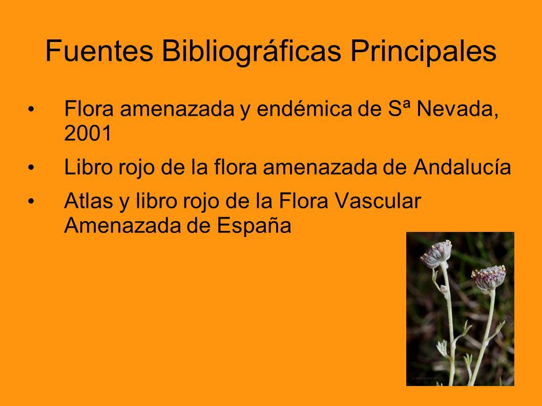 Fuentes Bibliográficas Principales Flora amenazada y endémica de Sª Nevada, 2001 Libro rojo de la flora amenazada de Andalucía Atlas y libro rojo de l