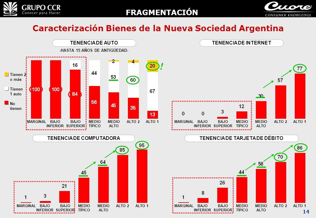 14 Caracterización Bienes de la Nueva Sociedad Argentina TENENCIA DE AUTO -HASTA 15 AÑOS DE ANTIGÜEDAD- ALTO 1ALTO 2MEDIO ALTO MEDIO TÍPICO BAJO SUPER