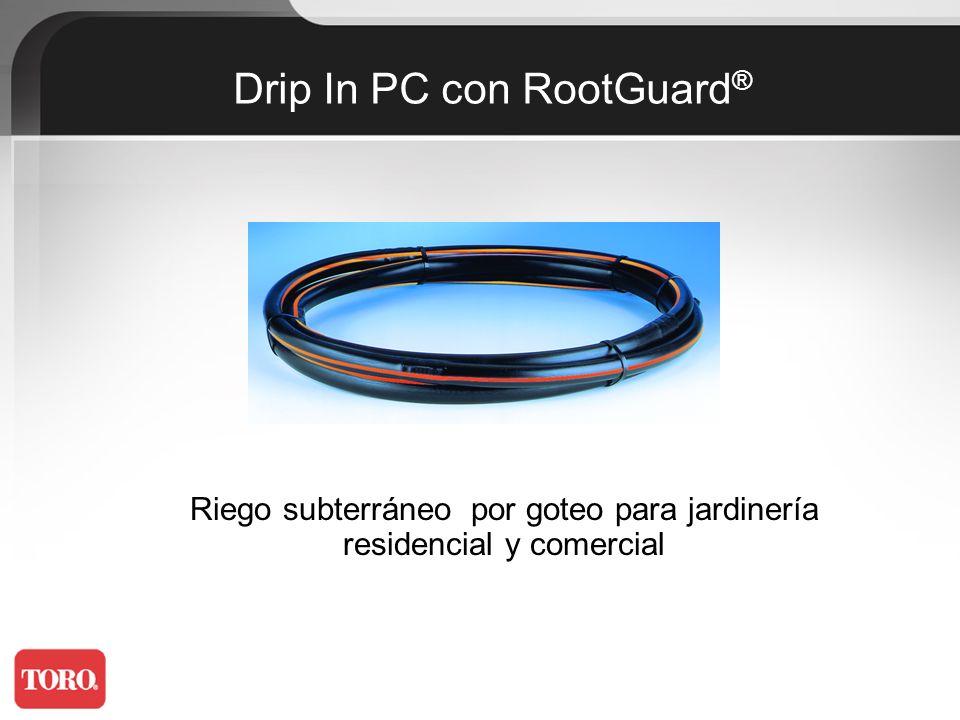 Aplicaciones: La Tubería de goteo Drip In (autocompensante) con Rootguard es el sistema de riego subterráneo más avanzado actualmente disponible, que permite suministrar agua directamente en los alrededores de la raíz previniendo la intrusión de raíces en el gotero.