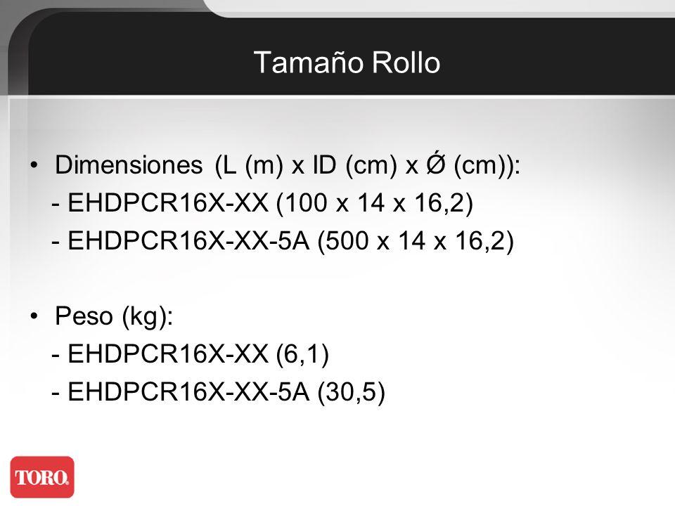 Longitud Máxima Presión (bar)33 cm Diámetro 16 mm40 cm Diámetro 16 mm 1,050336442 1,7775110466 2,4936212180 3,01046913090 3,51127414596 4,011979154102 Caudal (l/h)2,03,82,03,8