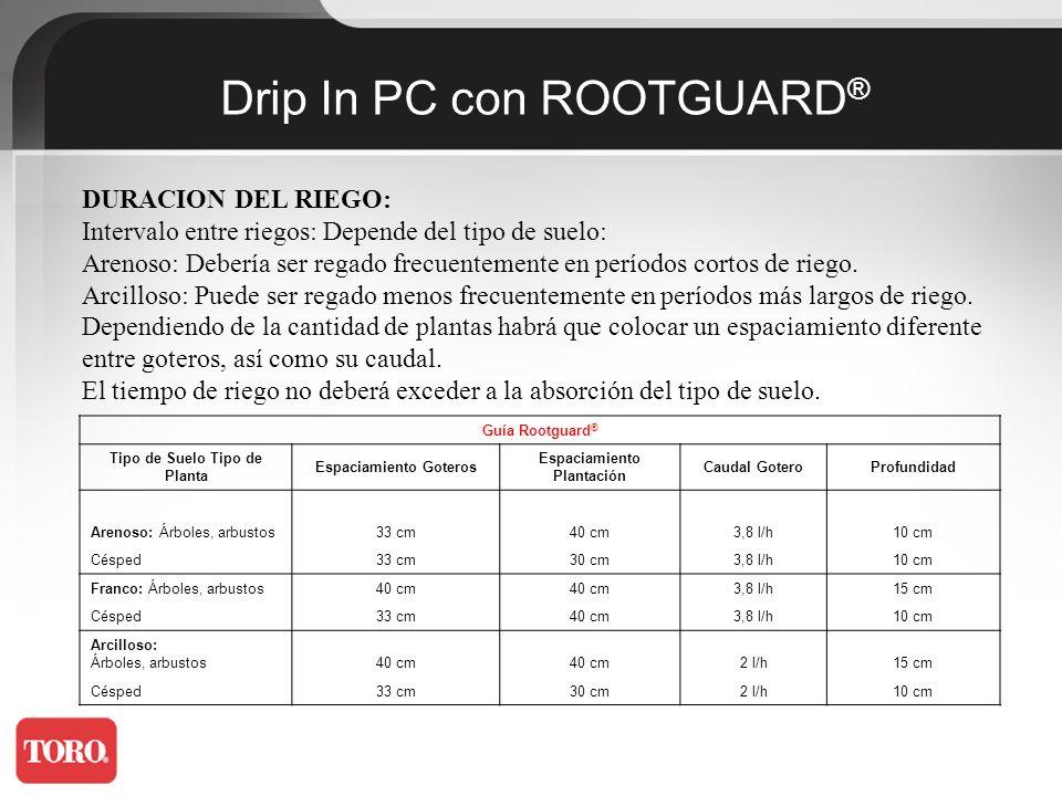 Calendario de Riegos con Drip Line Rootguard ® Tipo de PlantaRiego Diario Frecuencia de Riegos VeranoPrimaveraOtoño/Invierno Flores, Césped1-3 horas1-2 días3 días3-4 días Arbustos2-5 horas1-2 días2-3 días3-4 días Viñedo3-6 horas1-2 días2-3 días3-4 días Árboles Medianos5-7 horas2-3 días 4-5 días Árboles Gran Porte6-8 horas1-2 días2-3 días5-6 días Macetas 40 cm10-15 min.1-2 días2-3 días4-5 días Macetas > 40 cm15-20 min.1-2 días2-3 días4-5 días