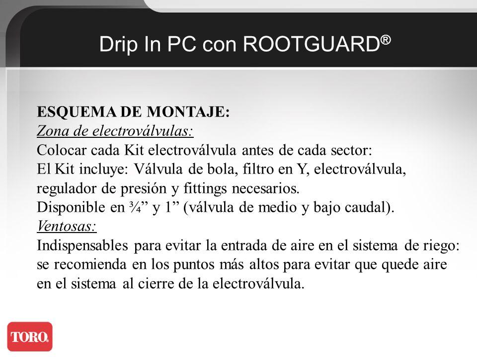 Drip In PC con ROOTGUARD ® Unión entre líneas: Se usa para asegurar el sistema de riego cuando se instala sobre el suelo.