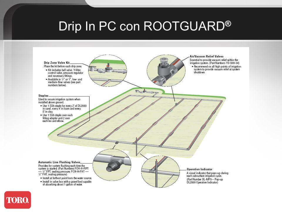 Ideal para riego en terrenos ondulados y variaciones de presión en la instalación Gotero integrado que asegura caudales constantes en rangos de presión de 0,5 a 4,2 bar Resistente a la obturación Color marrón para mejor camuflaje con el terreno PC (Autocompensante)