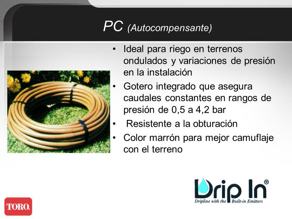 Alta versatilidad Goteros 2 l/h Diámetros: 16mm y 20mm Se puede colocar enterrado, sobre la superficie o colgado PC (Autocompensante)