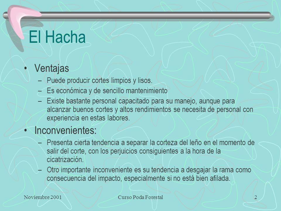 Noviembre 2001Curso Poda Forestal2 El Hacha Ventajas –Puede producir cortes limpios y lisos.