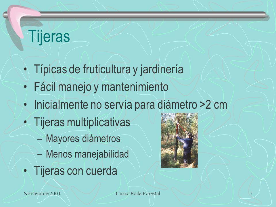 Noviembre 2001Curso Poda Forestal7 Tijeras Típicas de fruticultura y jardinería Fácil manejo y mantenimiento Inicialmente no servía para diámetro >2 cm Tijeras multiplicativas –Mayores diámetros –Menos manejabilidad Tijeras con cuerda