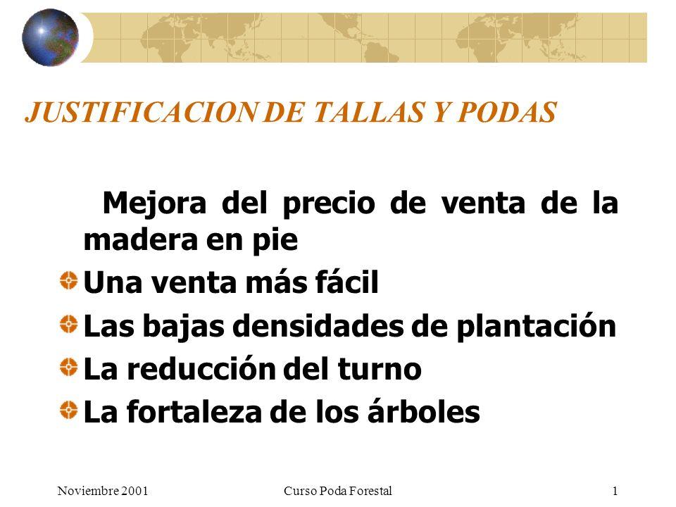 Noviembre 2001Curso Poda Forestal1 JUSTIFICACION DE TALLAS Y PODAS Mejora del precio de venta de la madera en pie Una venta más fácil Las bajas densidades de plantación La reducción del turno La fortaleza de los árboles