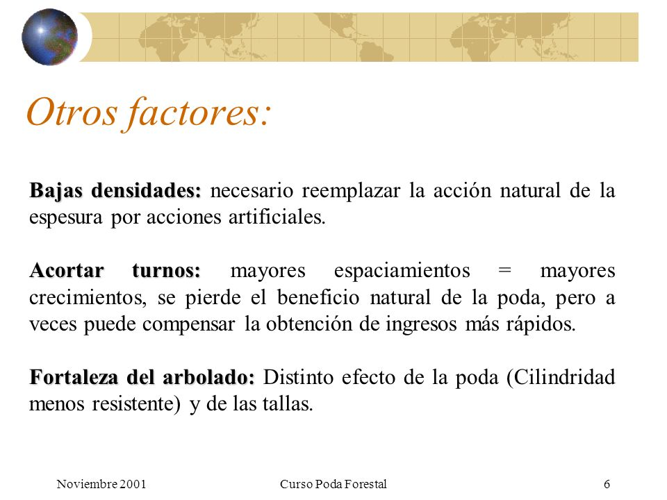 Noviembre 2001Curso Poda Forestal6 Otros factores: Bajas densidades: Bajas densidades: necesario reemplazar la acción natural de la espesura por acciones artificiales.