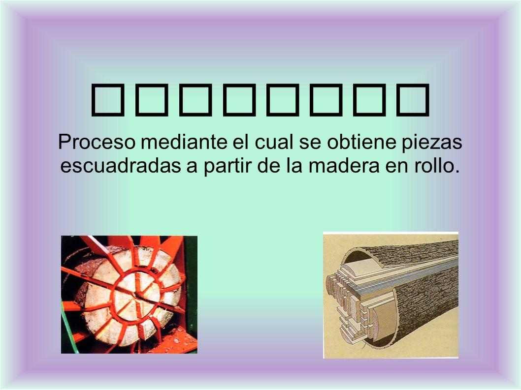DESPIECE Proceso mediante el cual se obtiene piezas escuadradas a partir de la madera en rollo.