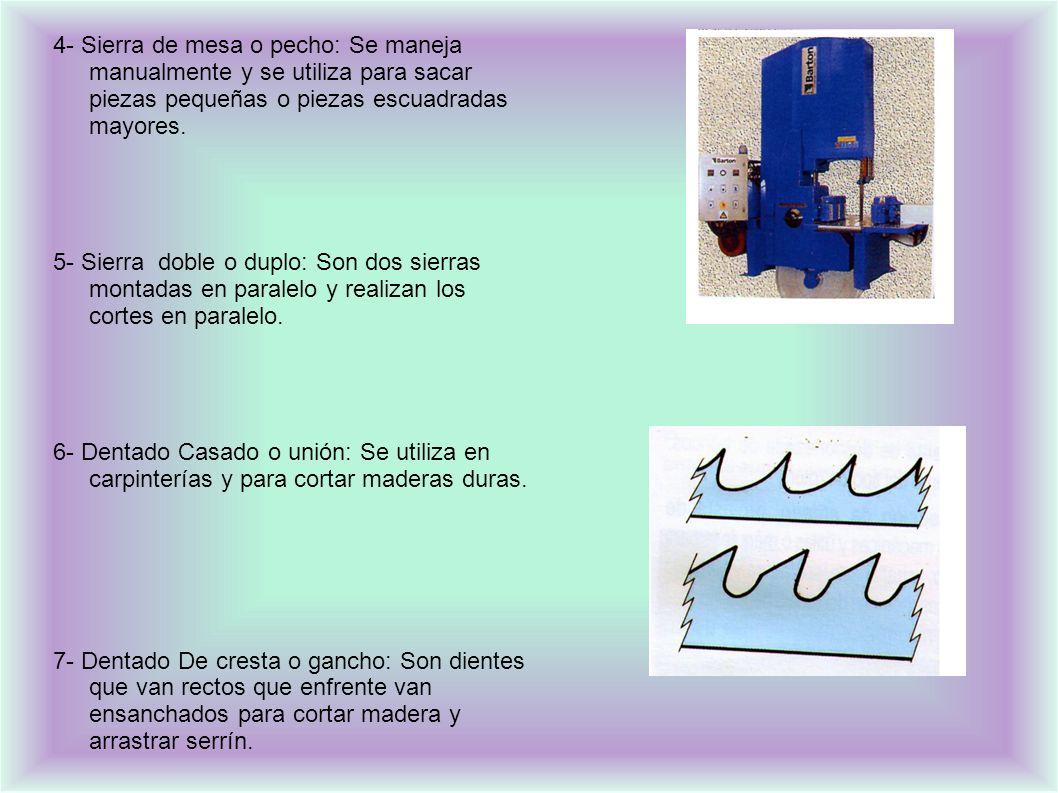 4- Sierra de mesa o pecho: Se maneja manualmente y se utiliza para sacar piezas pequeñas o piezas escuadradas mayores.