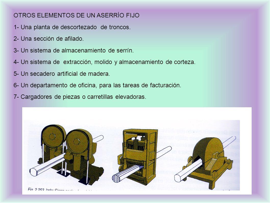 OTROS ELEMENTOS DE UN ASERRÍO FIJO 1- Una planta de descortezado de troncos.