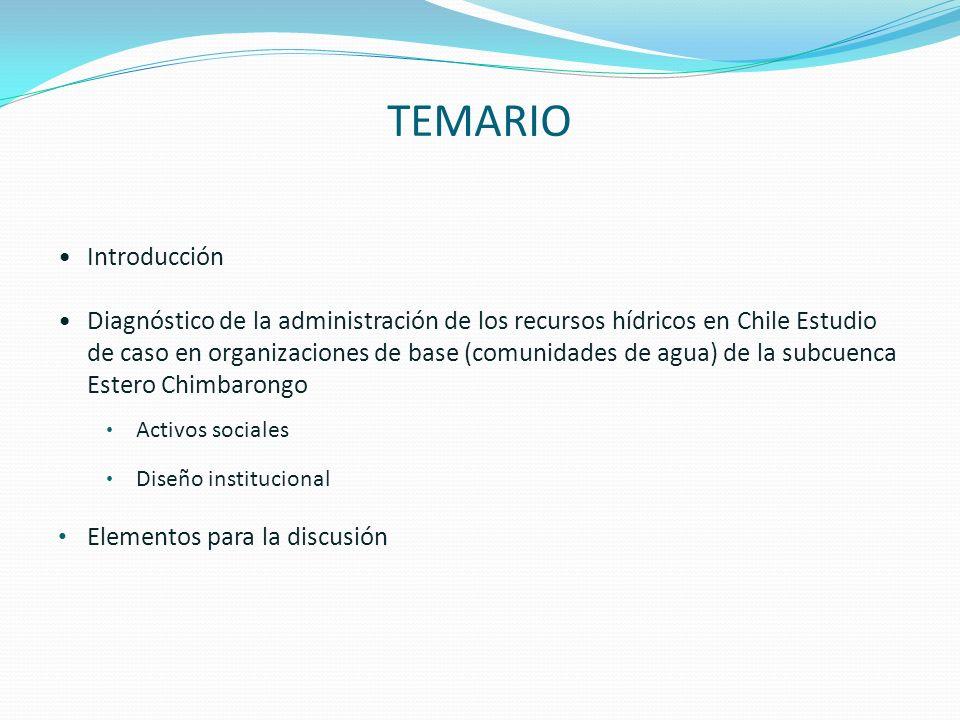 TEMARIO Introducción Diagnóstico de la administración de los recursos hídricos en Chile Estudio de caso en organizaciones de base (comunidades de agua