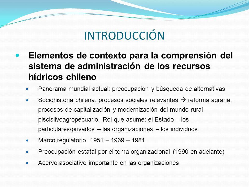 Elementos de contexto para la comprensión del sistema de administración de los recursos hídricos chileno Panorama mundial actual: preocupación y búsqu