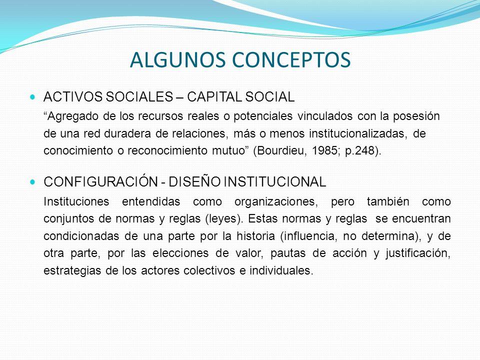 ACTIVOS SOCIALES – CAPITAL SOCIAL Agregado de los recursos reales o potenciales vinculados con la posesión de una red duradera de relaciones, más o me