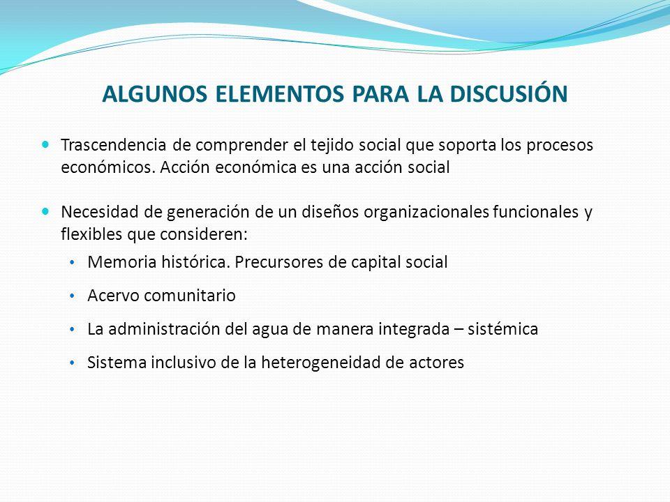 DESAFÍOS DE LA INSTITUCIONALIDAD PÚBLICA ASOCIADA A LOS RECURSOS HÍDRICOS: Generar un diseño institucional que contemple: Políticas públicas específicas para el desarrollo de las organizacional Unificación conceptual respecto a la manera de entender las OUA(s), y a las estrategias de promoción de su desarrollo.