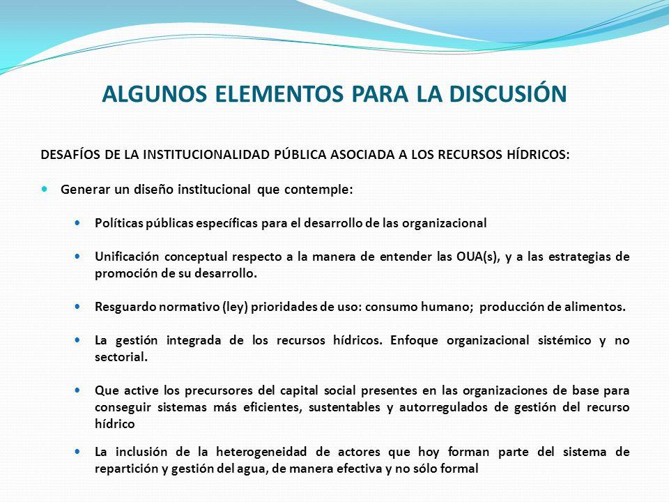 DESAFÍOS DE LA INSTITUCIONALIDAD PÚBLICA ASOCIADA A LOS RECURSOS HÍDRICOS: Generar un diseño institucional que contemple: Políticas públicas específic