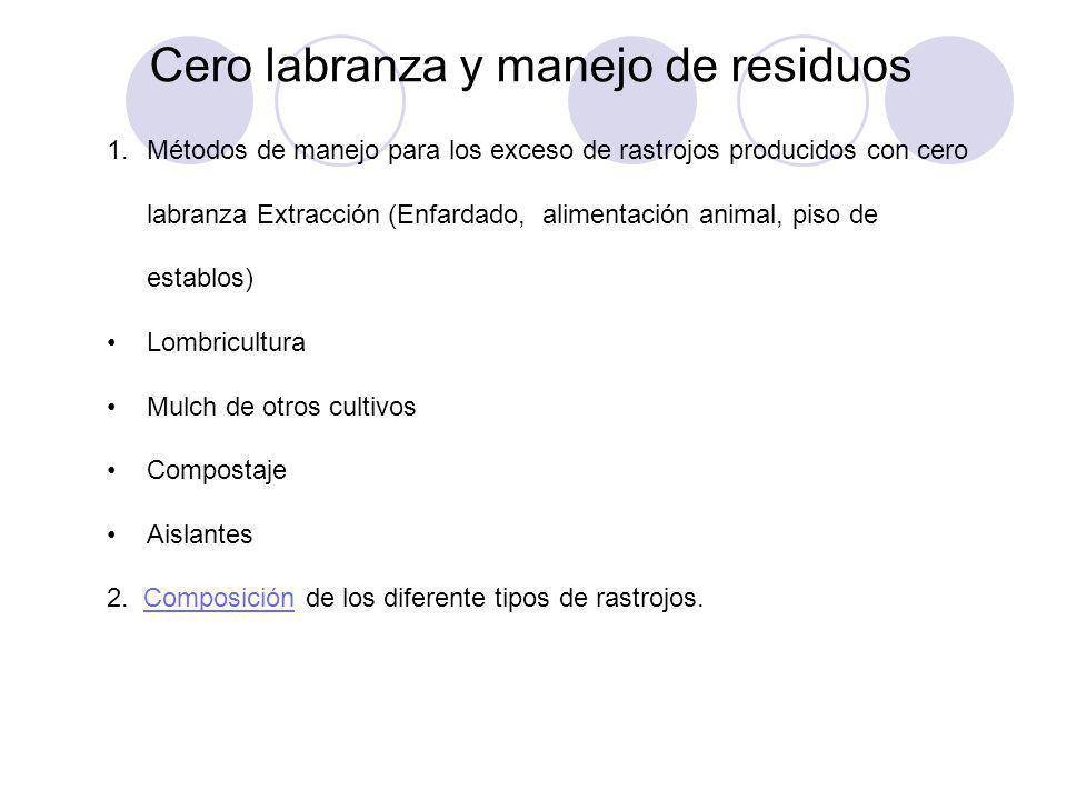Cero labranza y manejo de residuos 1.Métodos de manejo para los exceso de rastrojos producidos con cero labranza Extracción (Enfardado, alimentación a