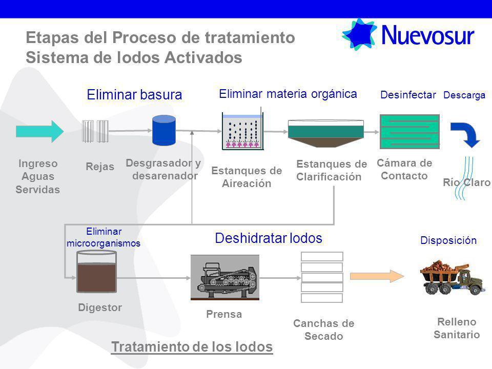 Etapas del Proceso de tratamiento Sistema de lodos Activados Estanques de Aireación Estanques de Clarificación Cámara de Contacto Disposición Descarga