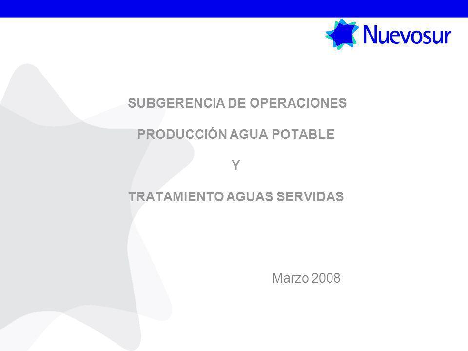 SUBGERENCIA DE OPERACIONES PRODUCCIÓN AGUA POTABLE Y TRATAMIENTO AGUAS SERVIDAS Marzo 2008