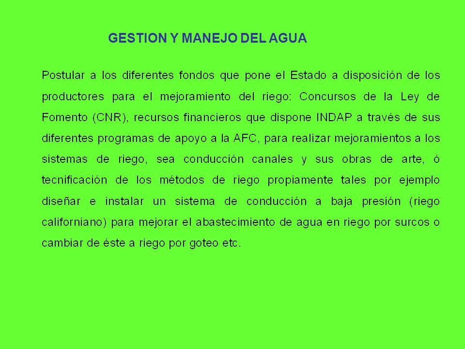 GESTION Y MANEJO DEL AGUA