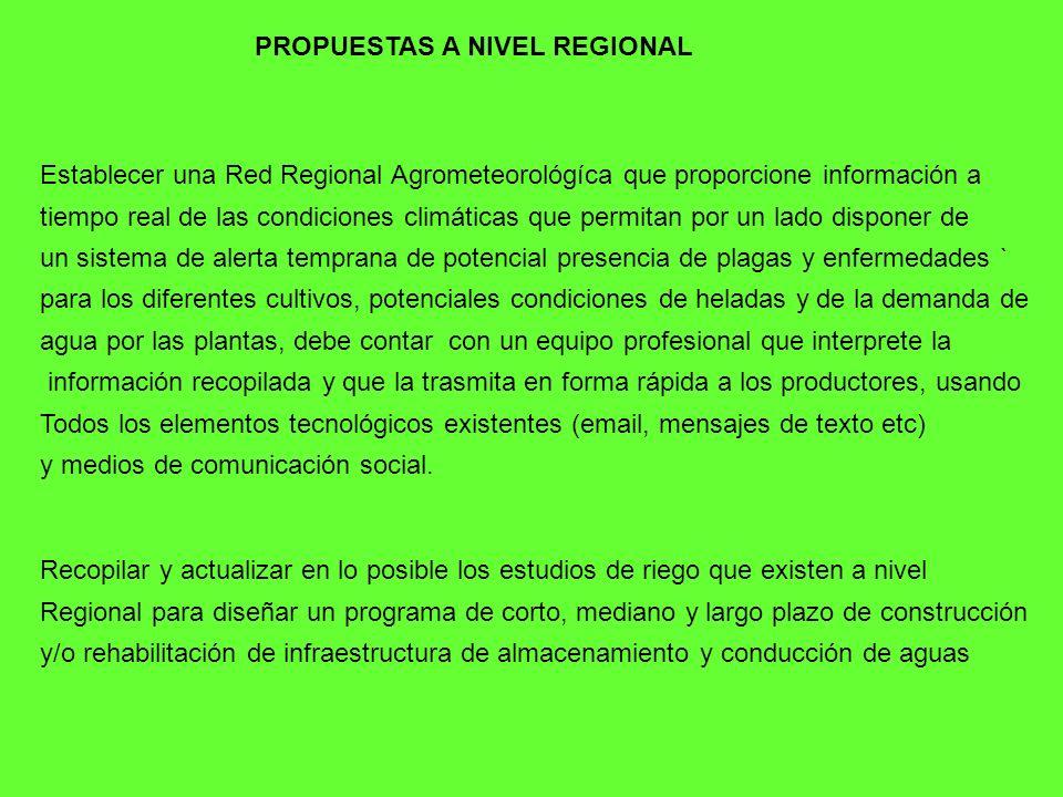 PROPUESTAS A NIVEL REGIONAL Establecer una Red Regional Agrometeorológíca que proporcione información a tiempo real de las condiciones climáticas que
