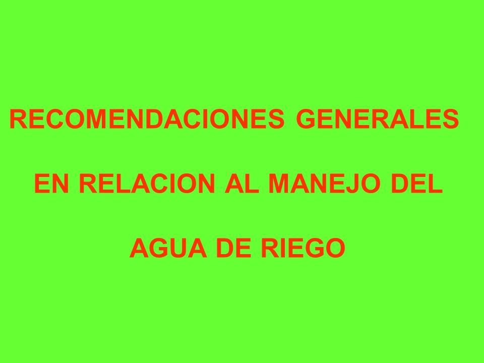RECOMENDACIONES GENERALES EN RELACION AL MANEJO DEL AGUA DE RIEGO