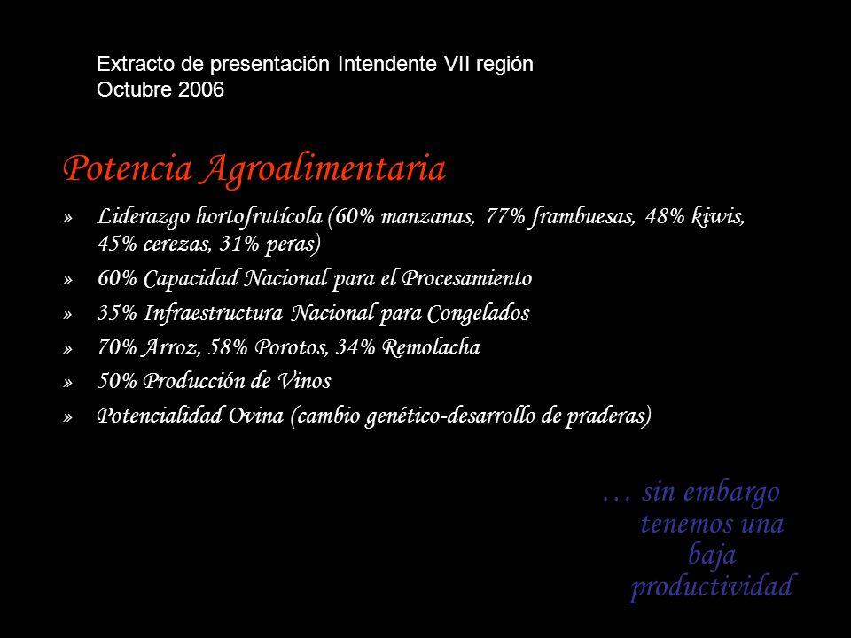 Potencia Agroalimentaria »Liderazgo hortofrutícola (60% manzanas, 77% frambuesas, 48% kiwis, 45% cerezas, 31% peras) »60% Capacidad Nacional para el Procesamiento »35% Infraestructura Nacional para Congelados »70% Arroz, 58% Porotos, 34% Remolacha »50% Producción de Vinos »Potencialidad Ovina (cambio genético-desarrollo de praderas) … sin embargo tenemos una baja productividad Extracto de presentación Intendente VII región Octubre 2006