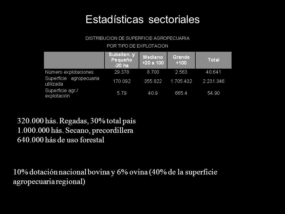 Estadísticas sectoriales 320.000 hás. Regadas, 30% total país 1.000.000 hás. Secano, precordillera 640.000 hás de uso forestal 10% dotación nacional b