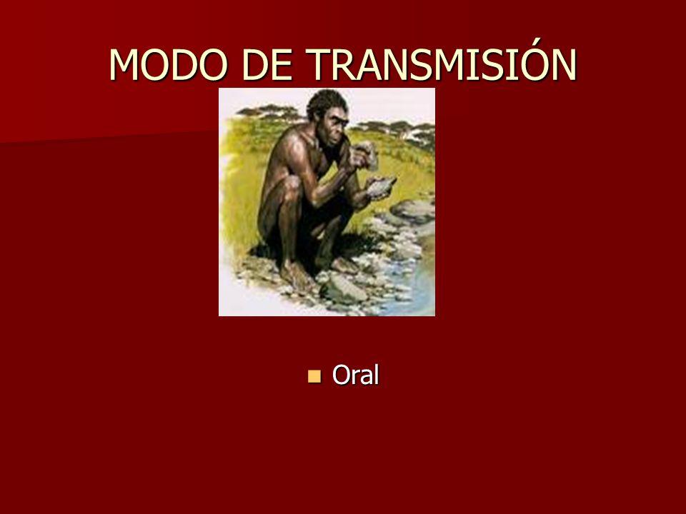MODO DE TRANSMISIÓN Oral Oral