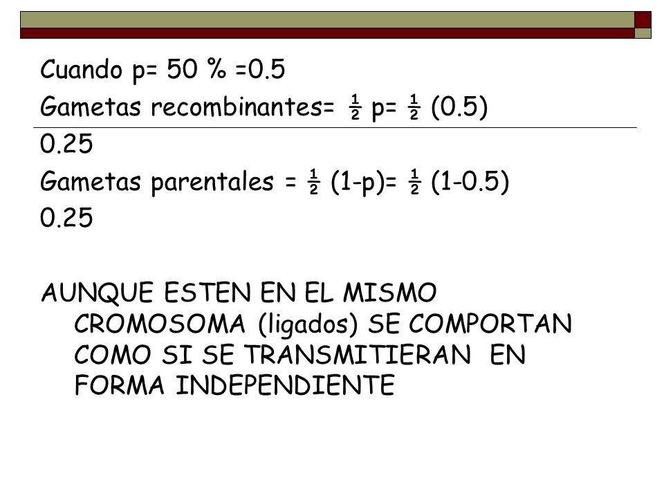 Cuando p= 50 % =0.5 Gametas recombinantes= ½ p= ½ (0.5) 0.25 Gametas parentales = ½ (1-p)= ½ (1-0.5) 0.25 AUNQUE ESTEN EN EL MISMO CROMOSOMA (ligados)