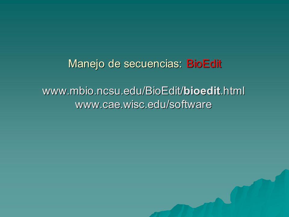Manejo de secuencias: BioEdit www.mbio.ncsu.edu/BioEdit/bioedit.html www.cae.wisc.edu/software Manejo de secuencias: BioEdit www.mbio.ncsu.edu/BioEdit