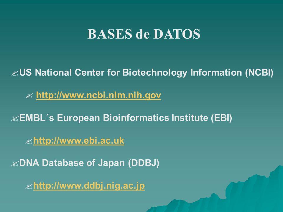 BASES de DATOS ?US National Center for Biotechnology Information (NCBI) ? http://www.ncbi.nlm.nih.govhttp://www.ncbi.nlm.nih.gov ?EMBL´s European Bioi