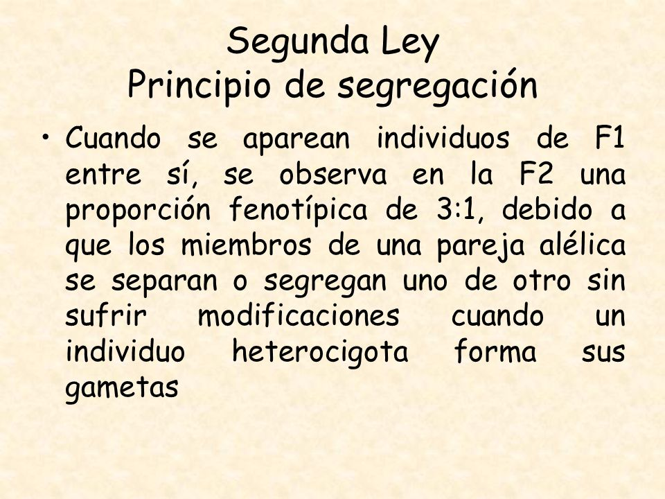 Segunda Ley Principio de segregación Cuando se aparean individuos de F1 entre sí, se observa en la F2 una proporción fenotípica de 3:1, debido a que l