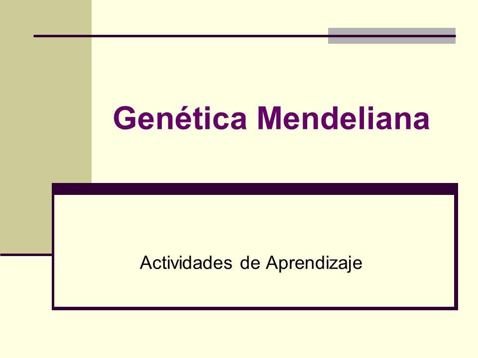 Genética Mendeliana Actividades de Aprendizaje