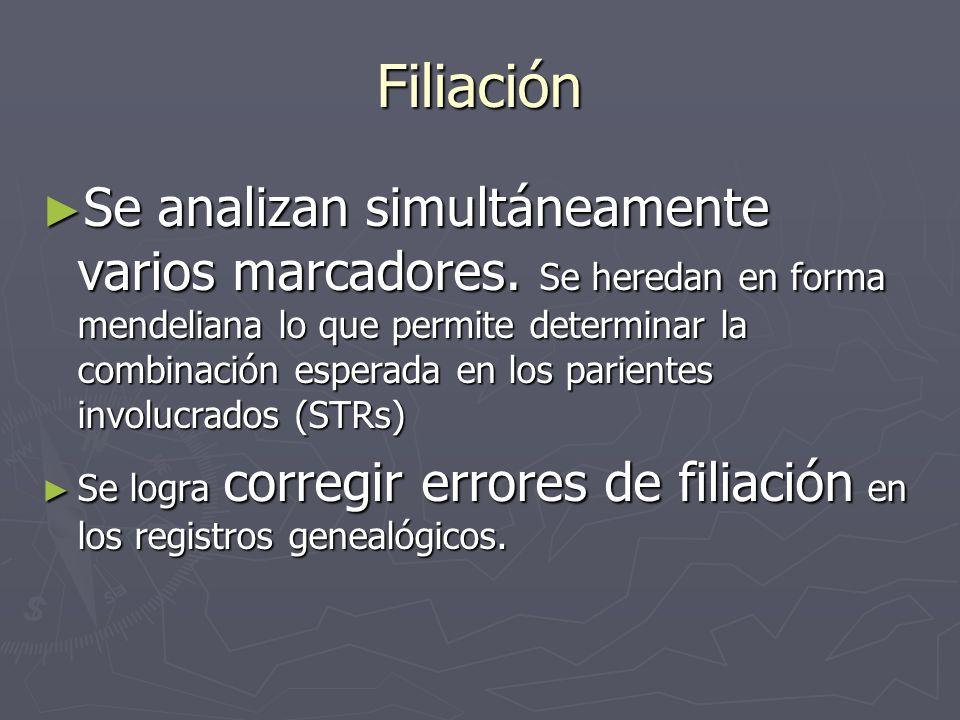 Filiación Se analizan simultáneamente varios marcadores. Se heredan en forma mendeliana lo que permite determinar la combinación esperada en los parie
