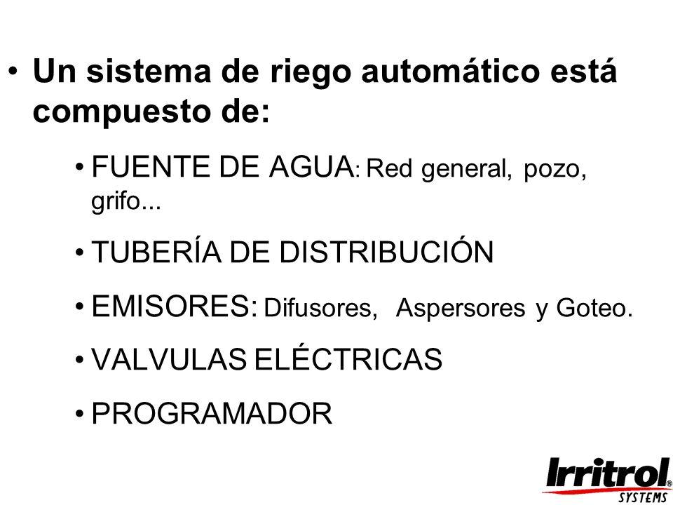 Un sistema de riego automático está compuesto de: FUENTE DE AGUA : Red general, pozo, grifo... TUBERÍA DE DISTRIBUCIÓN EMISORES: Difusores, Aspersores