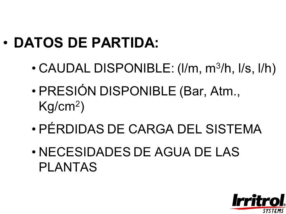 DATOS DE PARTIDA: CAUDAL DISPONIBLE: (l/m, m 3 /h, l/s, l/h) PRESIÓN DISPONIBLE (Bar, Atm., Kg/cm 2 ) PÉRDIDAS DE CARGA DEL SISTEMA NECESIDADES DE AGU