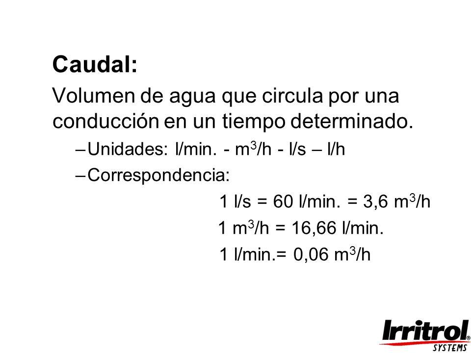 Caudal: Volumen de agua que circula por una conducción en un tiempo determinado. –Unidades: l/min. - m 3 /h - l/s – l/h –Correspondencia: 1 l/s = 60 l