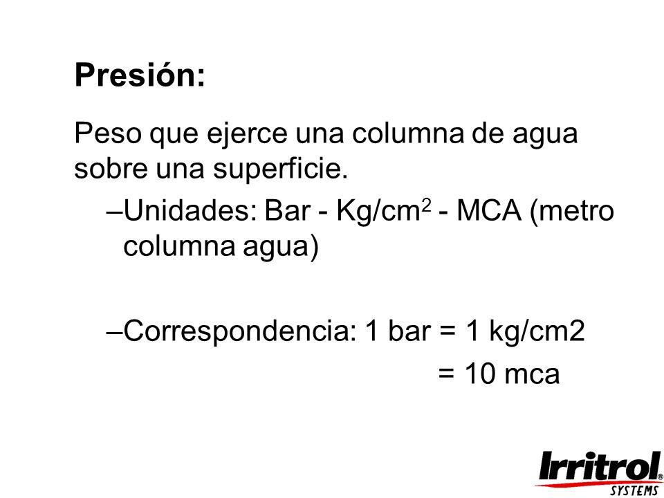 Presión: Peso que ejerce una columna de agua sobre una superficie. –Unidades: Bar - Kg/cm 2 - MCA (metro columna agua) –Correspondencia: 1 bar = 1 kg/