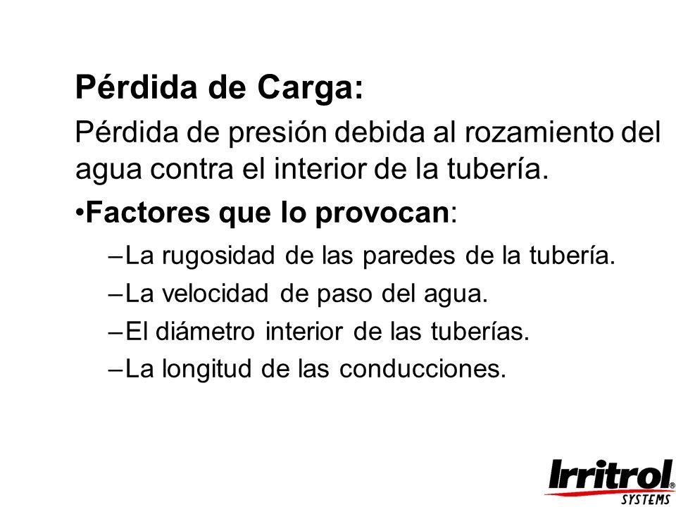 Pérdida de Carga: Pérdida de presión debida al rozamiento del agua contra el interior de la tubería. Factores que lo provocan: –La rugosidad de las pa