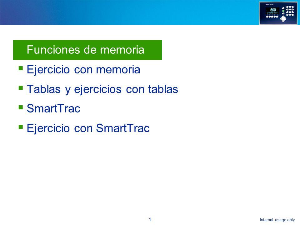 Internal usage only 21 Para seleccionar un objetivo: Agregue la tecla programable de tabla de objetivos Regrese a la pantalla principal Seleccione la tecla programable de tabla de objetivos Vea la tabla Seleccione el registro en la tabla que quiere activar Presione OK para activar y regresar a la pantalla de peso Ejercicio con SmartTrac