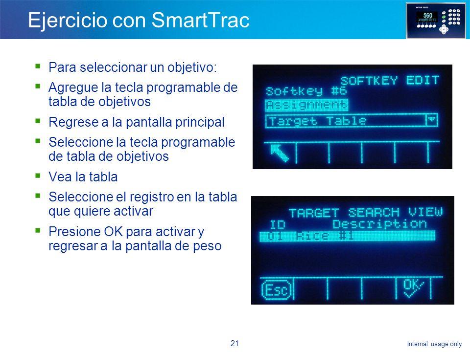 Internal usage only 20 ¿Cómo habilita SmartTrac.