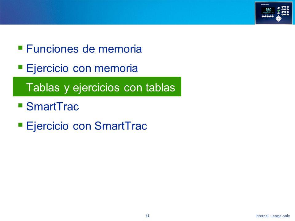 Internal usage only 16 Funciones de memoria Ejercicio con memoria Tablas y ejercicios con tablas SmartTrac Ejercicio con SmartTrac